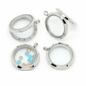 30mm Living Memory Floating Charm Glass Locket Pendant Necklace Free Chain Hot