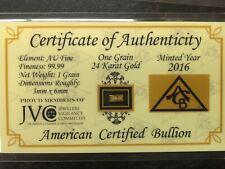 1 GRAIN .999 FINE GOLD BULLION BAR W/CERTIFIED CARD BY JVC 2016