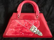 Vintage style patent & marbled red lucite handbag rockabilly retro 50s pin up