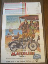 1953 Matchless Clubman Motorcycle Poster, 22x25, full sheet 22x33 3/4  (BD-64)