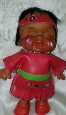 "vtg Rubber 5.5"" Crying Baby Indian Doll Hong Kong Native American laughing"