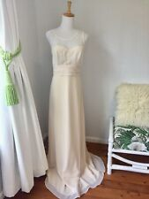 Crux Ivory Lace Long Wedding Evening Cocktail Dinner Dress Size 12 Vintage Look