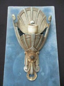 LINCOLN ART DECO SLIP SHADE WALL SCONCE NO SHADE CAST ALUMINUM ORIGINAL WIRING