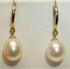STUNNING  9CT 9 CARAT YELLOW GOLD CULTURED  PEARL  DROP STUD EARRINGS
