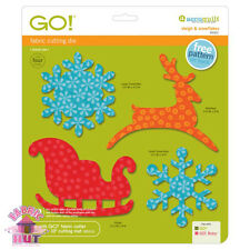 55322- Accuquilt GO! & Big Fabric Cutter Sleigh & Snowflakes Winter Holiday Die