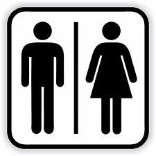 1x WC Man & Woman Restroom Sticker Sign Black & White Bathroom Toilet Door
