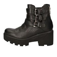 scarpe donna CROWN 36 EU stivaletti nero pelle AE919-C