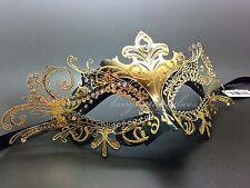 LASER CUT Metal VENETIAN Masquerade Black/Gold Rhinestone Prom Mask