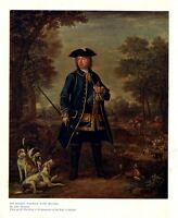 SIR ROBERT WALPOLE WITH HOUNDS WHIP SPORTING COLOR PRINT FOXHOUND HORSES HUNTING