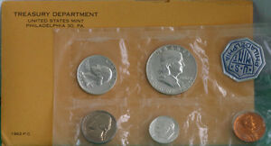 1962 United States 5 Coin Silver Proof Set with Franklin Half and Envelope