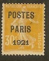 "FRANCE PREO 29 ""SEMEUSE 5c POSTES PARIS 1921"" NEUF (x)"
