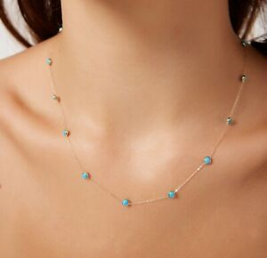 14K Solid Yellow Gold Beaded Turquoise Necklace, Turquoise Station Necklace