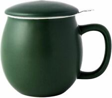 Porcelain Teacup with Infuser and Lid Matte Green