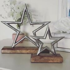 Set Of 2 Freestanding Metal Silver Coloured Star Natural Wooden Block Ornament