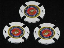 USMC Lot of 3 White Poker Chips Golf Ball Marker Card Guard Marine Corps Navy