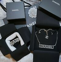 New 2018 Authentic CHANEL RUNWAY Letter Silver Crystal Necklace and Bracelet Set