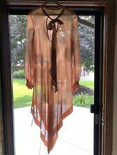 Vtg 70s Dress Mod Pop Art Sheer Overlay Coral Tank Maxi Billow Sleeve Ascot Tie