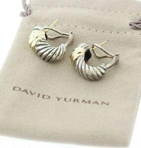 DAVID YURMAN 14k Yellow Gold & Sterling Silver Leverback Shrimp Earrings 20x10mm