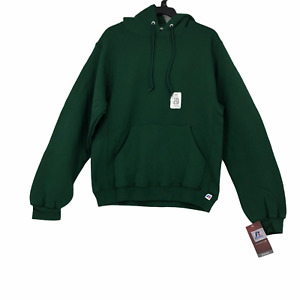 Russell Athletic Mens Small Green Pullover Hoodie Sweatshirt Cotton Blend NEW