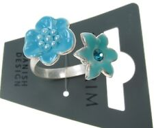 PILGRIM Adjustable Ring ENCHANTED FLOWER Silver Aqua Blue Swarovski Enamel BNWT