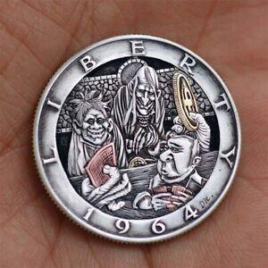 Hobo nickel #21-045/1964 Kennedy half dollar /David HJ. He