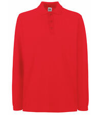 BULK BUYER Fruit of the Loom Childrens Long Sleeve Polo Shirt  5 Colours School