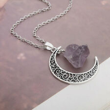 One Celtic Crescent Moon with genuine rough amethyst and 50 cm