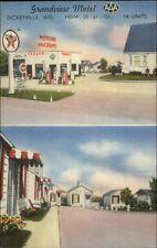 Dickeyville WI Grandview Motel & Texaco Gas Station Roadisde LINEN Postcard