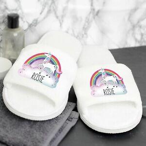 Personalised Unicorn Velour Slippers Gift Women Christmas Xmas Present Daughter