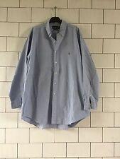 Hombre vintage retro manga larga Ralph Lauren Blue Yarmouth Camisa Informal #197