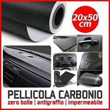 PELLICOLA CARBONIO 3D ADESIVA ADESIVO NERA 20x50 CM CAR WRAPPING AUTO MOTO