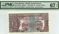 1948 Great Britain/British Arm Forces 2nd Series £1 Pound P-M22a  PMG 67.