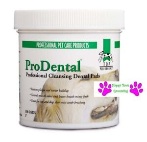 100 Top Performance ProDental PRO DENTAL CLEANSING PADS PET Dog Teeth Mouth Wipe