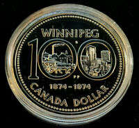 "1974 Canadian $1.00 Silver Specimen Silver Dollar -"" Winnipeg Centennial"""