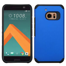 For HTC 10 Hybrid Rubber Dual Layers Hard Soft Protective Case Cover Thin BLUE