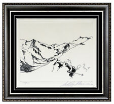 LeRoy Neiman Village In The Valley Downhill Skiing Etching Hand Signed Artwork