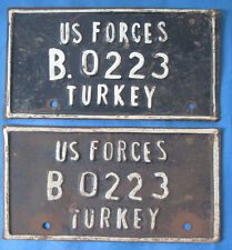 Matched pair of US Forces in Turkey license plates
