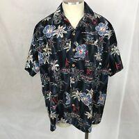 Kennington Ltd. Men's Shirt  Black Short Sleeve Hawaiian Flower Print XL
