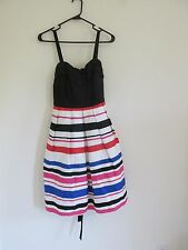 NEW WOMEN'S TORRID STRIPED TANK DRESS SEMI-FORMAL TULE PINK/BLACK/WHITE SIZE 12