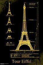 Malcolm Watson Eiffel Tower Schematics Architectural Landmark Poster - 12x18