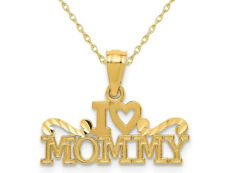 I Heart Mommy Pendant Necklace in 14K Yellow Gold