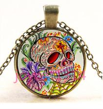 Glass Chain Pendant Necklace Ts-3403 Sugar Flower Skull Cabochon bronze