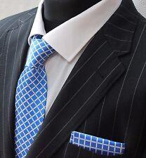 Tie Neck tie with Handkerchief blue with white stripe