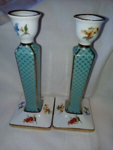 CANDLE STICKS  x 2 VINTAGE LOOK BY PAT TIMES PERFECT 18 cm TALL