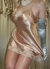 Vtg Style Gold Honey Shiny Satin Mini Slip Nightgown Babydoll Lingerie Xl 42 44