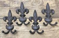 4 Fleur De Lis Coat Hooks Hanger Wall Rack cast iron Vintage Antique Style