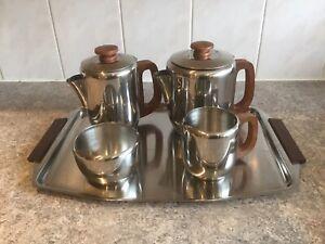 SAROSH STAINLESS STEEL & TEAK TEA SET TRAY TEA POT WATER POT SUGAR BOWL MILK JUG