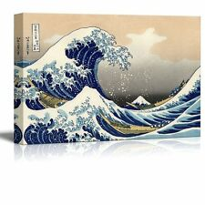 "The Great Wave Off Kanagawa by Katsushika Hokusai Reproduction on Canvas-32""x48"""
