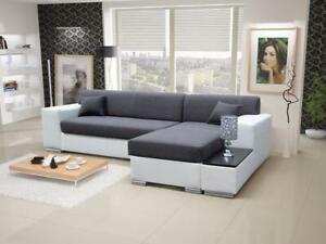 Luxurious Forte Designer Leather Corner Sofa Bed