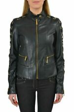 Just Cavalli 100% Leather Black Full Zip Women's Basic Jacket US S IT 40